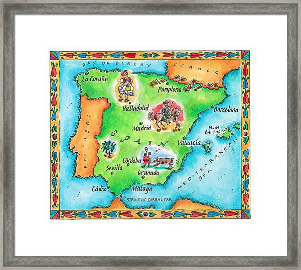 Map Of Spain Framed Print by Jennifer Thermes