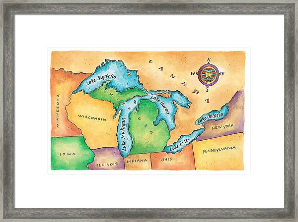 Map Of The Great Lakes Framed Print