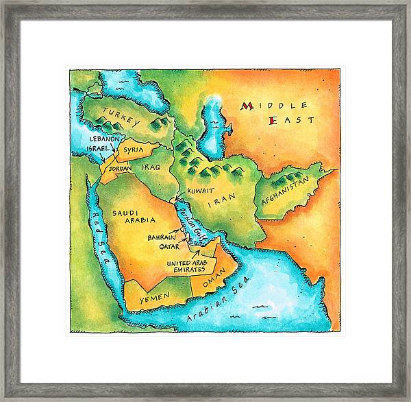Map Of The Middle East Framed Print by Jennifer Thermes