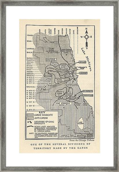 Map Showing Divisions Of Gang Framed Print