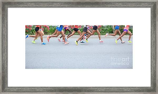 Marathon Running Race, People Feet On Framed Print