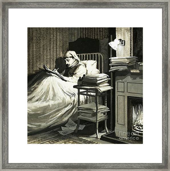 Marcel Proust Sat In Bed Writing Remembrance Of Things Past Framed Print