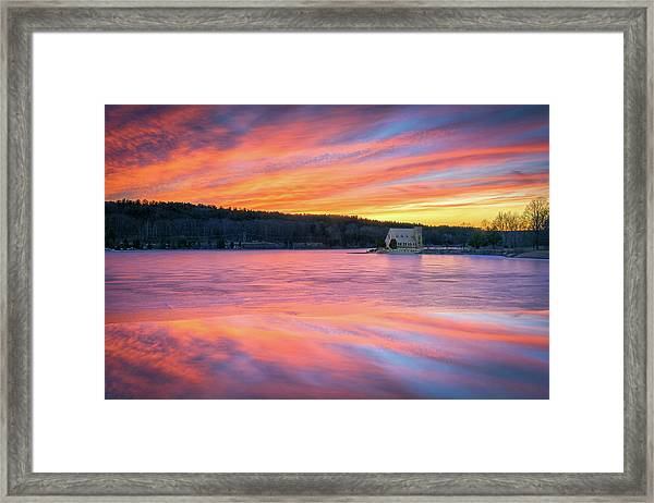 March Sunset At The Old Stone Church Framed Print