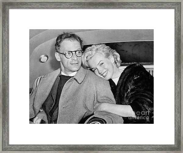 Marilyn Monroe And Husband Arthur Framed Print