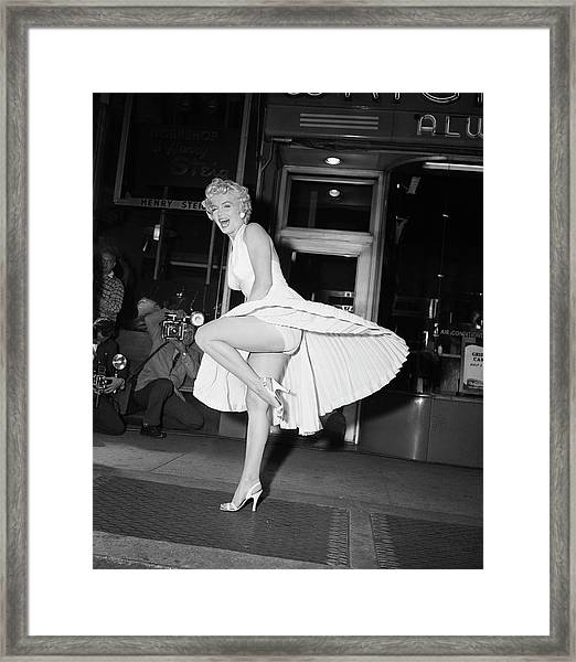 Marilyn Monroe On Subway Grate Framed Print by Bettmann