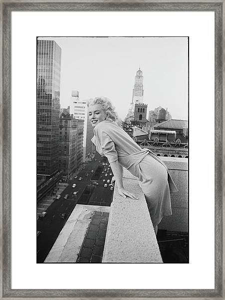 Marilyn On The Roof Framed Print