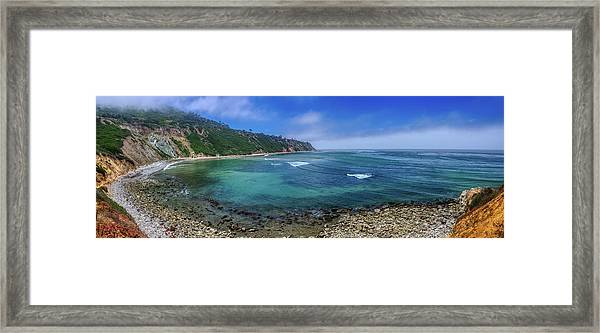 Marine Layer Over Bluff Cove Panorama Framed Print
