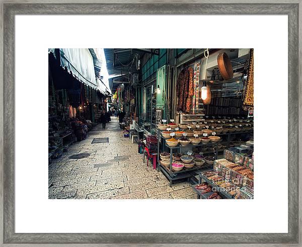 Market In Old City Of Jerusalem Framed Print