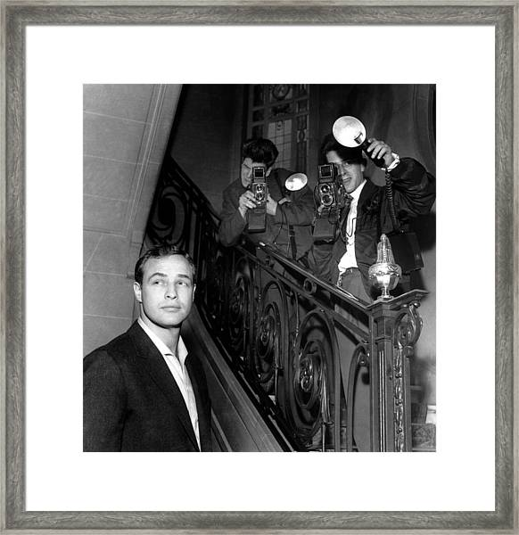 Marlon Brando In Paris 1957 Framed Print