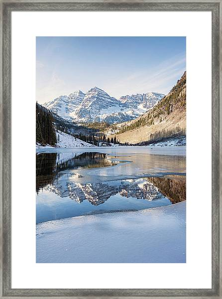 Maroon Bells Reflection Winter Framed Print
