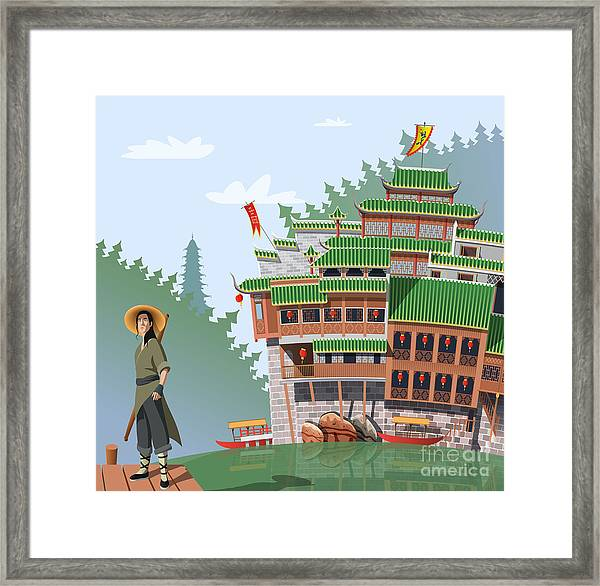 Martial Arts Fighter And Ancient Framed Print