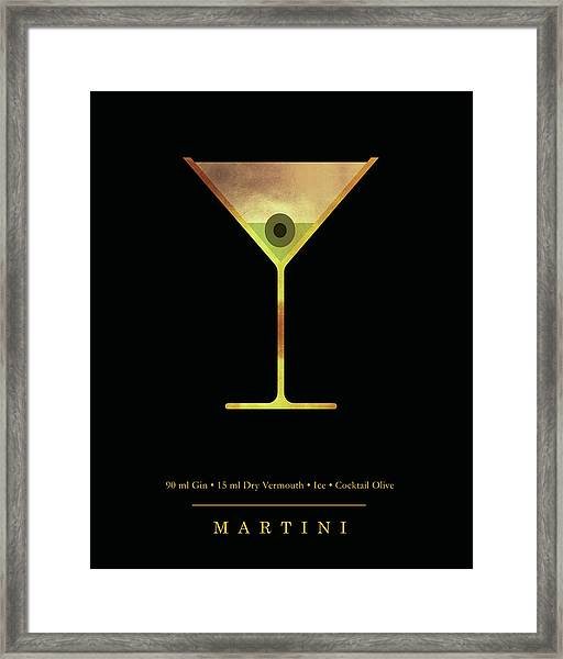 Martini - Cocktail - Classic Cocktails Series - Black And Gold - Modern, Minimal Decor Framed Print