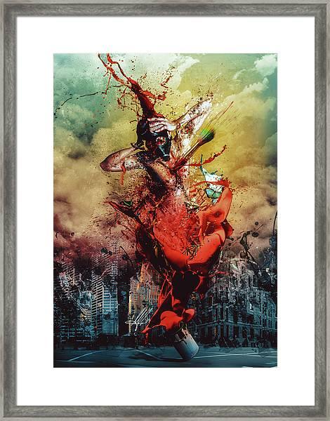 Masochistic Artist.  Framed Print