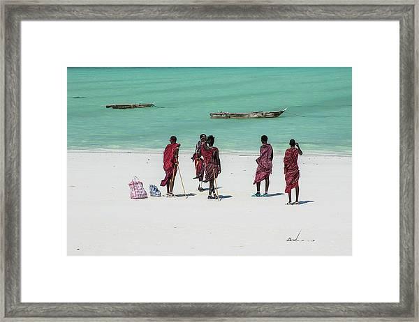 Massai At The Beach Framed Print