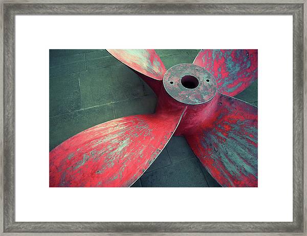Massive Propeller Distressed Red Framed Print by Peskymonkey