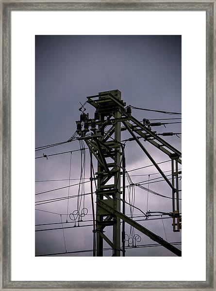 Framed Print featuring the photograph Mast Overhead Line Rail. by Anjo Ten Kate