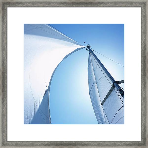 Mast With Mainsail And Foresail Of A Framed Print