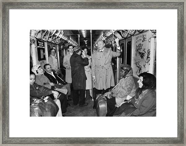 Mayor Ed Koch Rides The Subway Framed Print by New York Daily News Archive