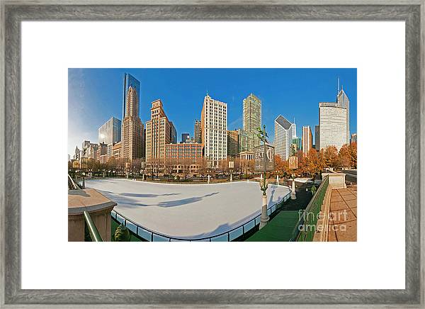Mccormick Tribune Plaza Ice Rink And Skyline   Framed Print