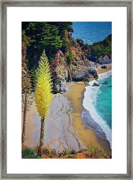 Mcway Falls With Blooming Yucca Framed Print