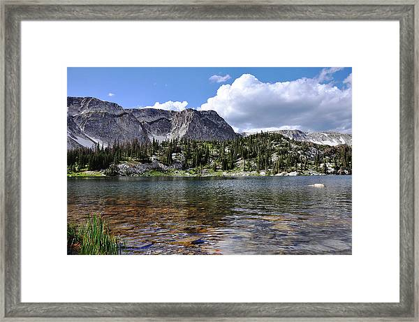 Medicine Bow Peak And Mirror Lake Framed Print