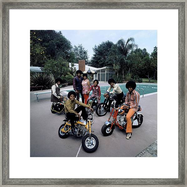 Members Of Pop Group Jackson Five Framed Print by John Olson