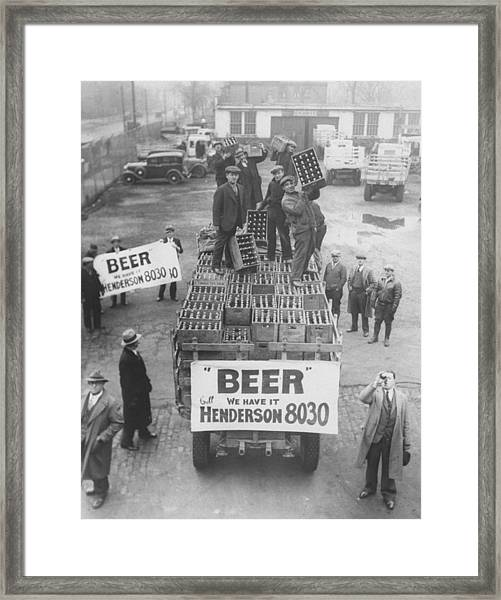 Men Atop Beer Delivery Truck W. Sign Re Framed Print by Time Life Pictures