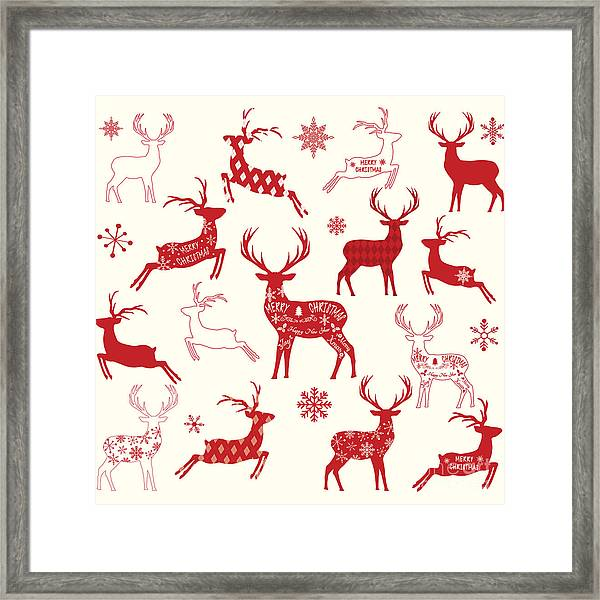 Merry Christmas Reindeer,reindeer Framed Print by Alexaz