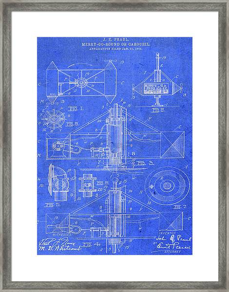 Merry Go Round Amusement Carousel Vintage Patent Blueprint Framed Print