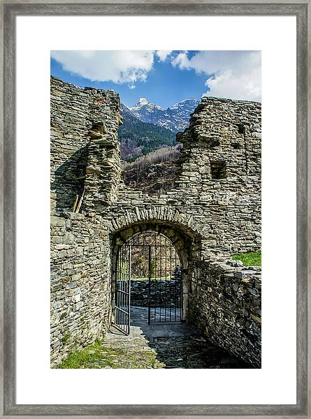 Framed Print featuring the photograph Mesocco Castle Gate With Mountains by Dawn Richards