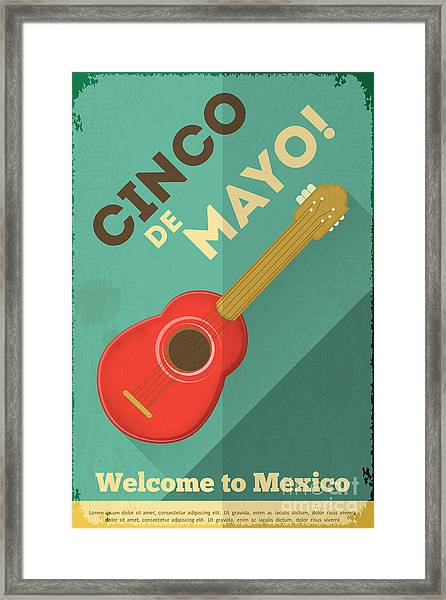 Mexican Guitar. Posters In Retro Style Framed Print