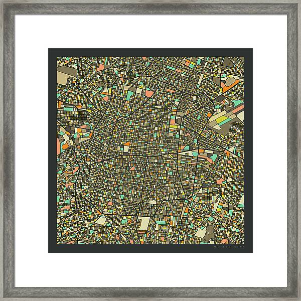 Mexico City Map 2 Framed Print