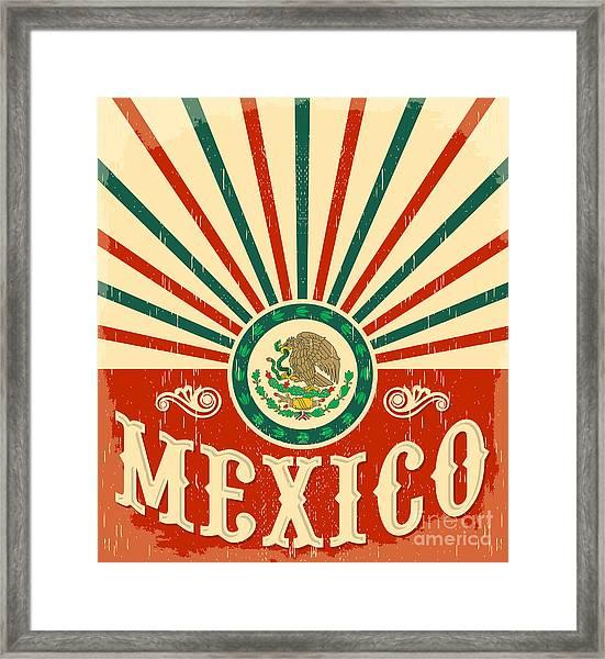 Mexico Vintage Patriotic Poster - Card Framed Print
