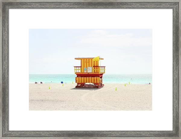 Miami Beach Hut Framed Print