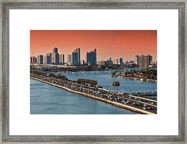 Miami Florida Skyline At Sunset Framed Print