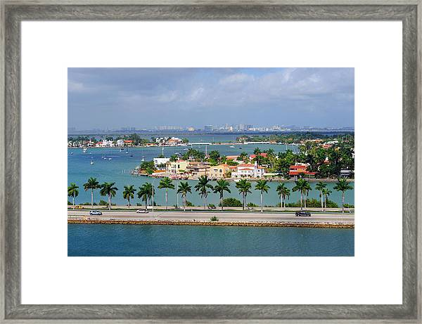 Miami Mac Arthur Causeway En Route To Framed Print