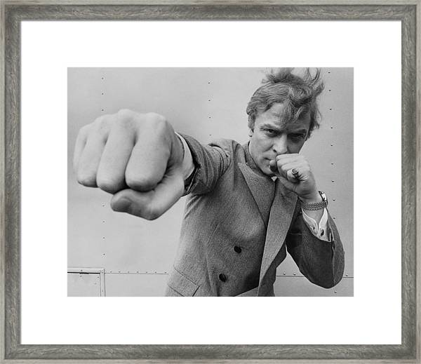 Michael Caine Throwing A Punch Framed Print