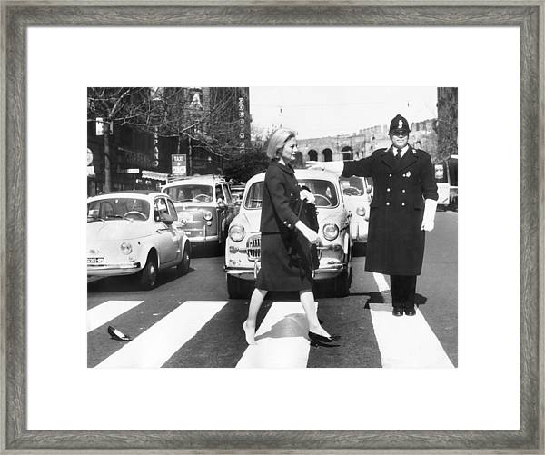 Michele Morgan Crossing A Street In Framed Print by Keystone-france