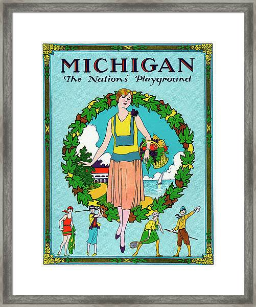 Michigan Travel Poster Framed Print
