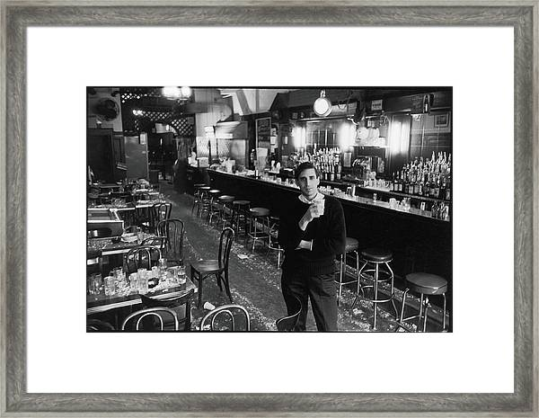 Mickey Ruskin In The Annex Framed Print by Fred W. McDarrah