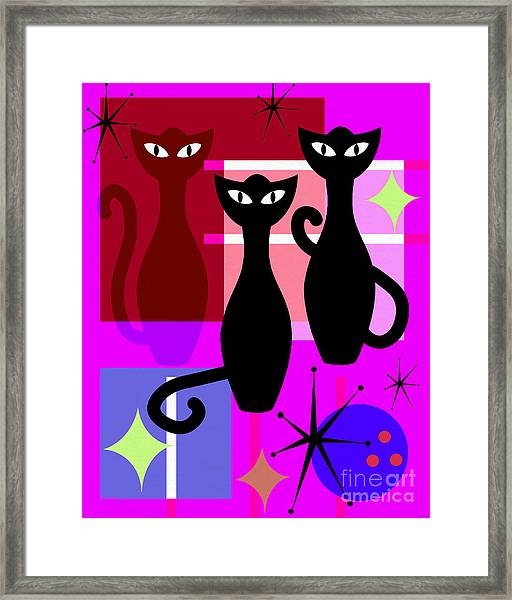 Mid Century Modern Abstract Mcm Bowling Alley Cats 20190113 M103 Framed Print