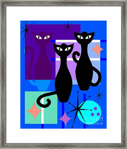 Mid Century Modern Abstract Mcm Bowling Alley Cats 20190113 M180 Framed Print