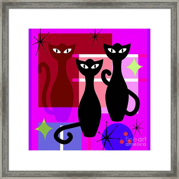 Mid Century Modern Abstract Mcm Bowling Alley Cats 20190113 Square M103 Framed Print