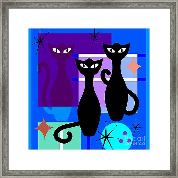 Mid Century Modern Abstract Mcm Bowling Alley Cats 20190113 Square M180 Framed Print
