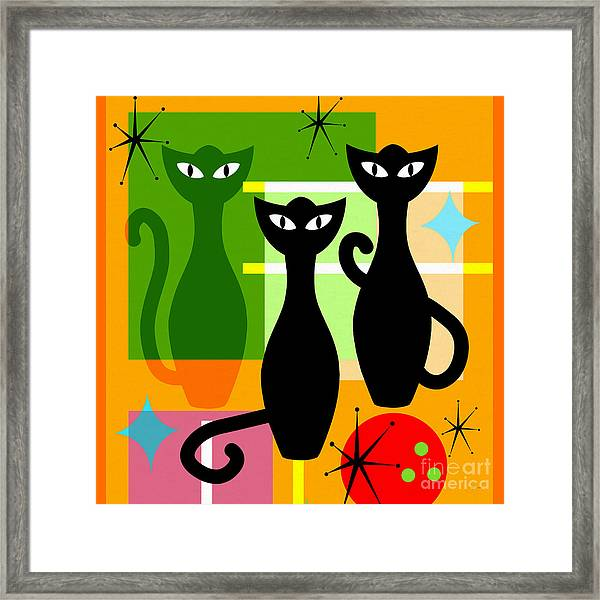 Mid Century Modern Abstract Mcm Bowling Alley Cats 20190113 Square Framed Print