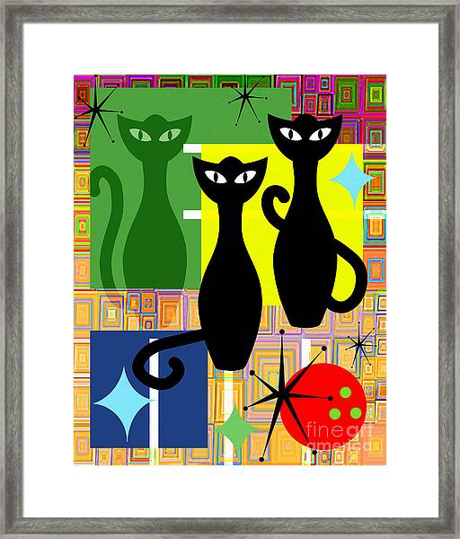 Mid Century Modern Abstract Mcm Bowling Alley Cats 20190113 V2 Framed Print