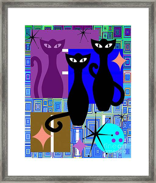 Mid Century Modern Abstract Mcm Bowling Alley Cats 20190113 V2m1 Framed Print