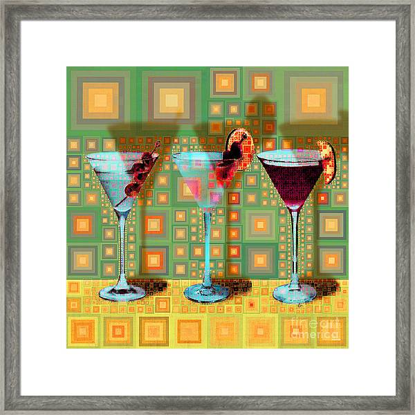 Mid Century Modern Abstract Mcm Three Martinis Shaken Not Stirred 20190127 V1 Square Framed Print