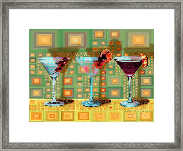 Mid Century Modern Abstract Mcm Three Martinis Shaken Not Stirred 20190127 V1a Framed Print