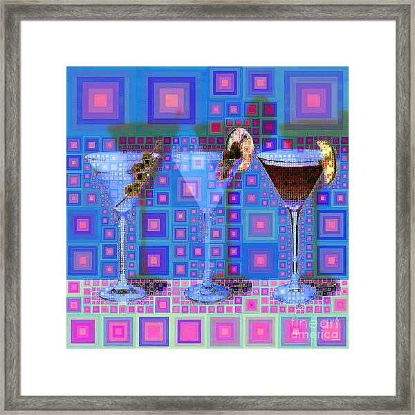 Mid Century Modern Abstract Mcm Three Martinis Shaken Not Stirred 20190127 V2 Square Framed Print